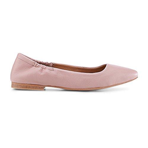 Cox Damen Stretch Ballerina für, rosa Flats aus Leder mit rutschhemmender Laufsohle Rosa Leder 39