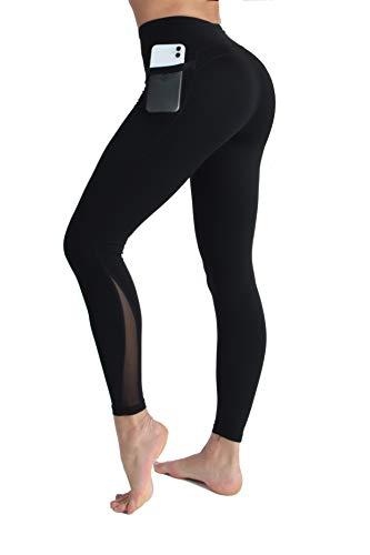 PIZOFF Damen Sport Legging Hose mit Taschen Blickdicht Gym Sporthose Laufen Fitness Yogahose,M,Schwarz