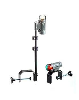 Attwood 14194-7 Portable Navigation Light Kit LED Bow Light LED Stern Light C-Clamp Mount Marine Gray
