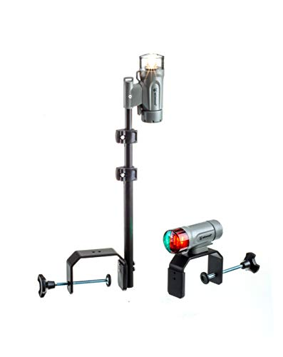 Attwood 14194-7 Portable Navigation Light Kit, LED Bow Light, LED Stern Light, C-Clamp Mount, Marine Gray