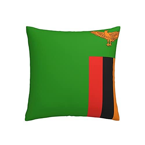 Kissenbezug mit Flagge von Sambia, quadratisch, dekorativer Kissenbezug für Sofa, Couch, Zuhause, Schlafzimmer, drinnen & draußen, niedlicher Kissenbezug 45,7 x 45,7 cm