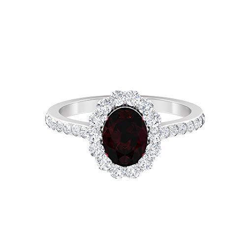 Anillo solitario de 8 x 6 mm de corte ovalado, anillo de compromiso de diamante HI-SI, oro blanco, granate, tamaño: UK K1/2