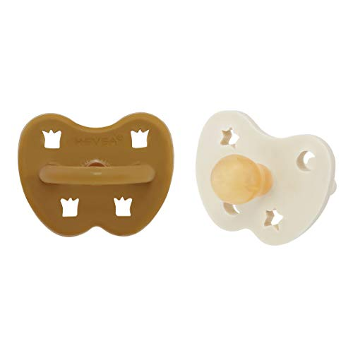 HEVEA Coloured Natural Rubber Pacifier with Natural Colour Pigments, Plant Based, Plastic-Free, Non-Toxic, Eco-Friendly, BPA-Free, Round Teat Shape, 3-36 Months (Milky White/Turmeric)