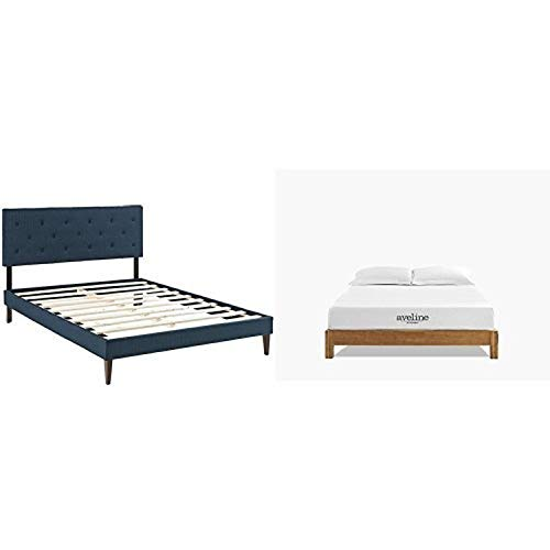 For Sale! Modway Terisa King Fabric Platform Bed with Squared Tapered Legs in Azure with Modway Avel...