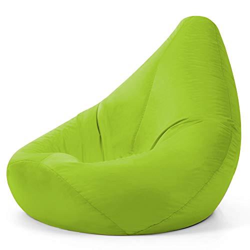 Bean Bag Bazaar High Back Recliner Chair, Lime Green, 87cm x 65cm, Large Living Room Gaming Bean Bags, Water Resistant Outdoor Lounger Beanbag