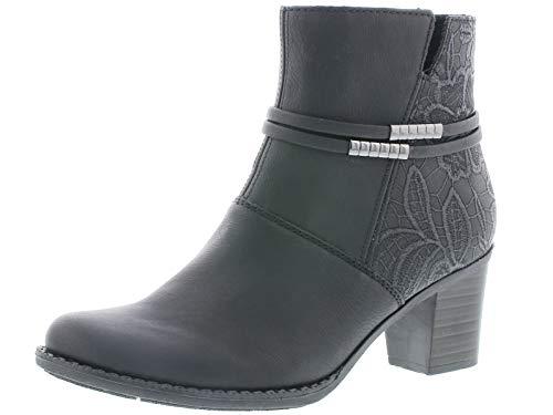 Rieker Damen Klassische Stiefeletten Z7684, Frauen Stiefeletten,reißverschluss,Woman,Lady,Ladies,Boots,Stiefel,Bootee,schwarz (00),36 EU / 3.5 UK