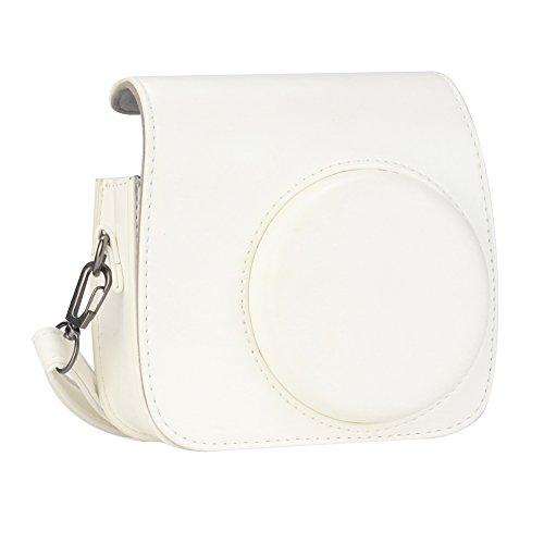 Anter Protective Instax Mini 8 Custodia per Fujifilm Instax Mini 8 Mini 8 + Mini 9 Macchina fotografica istantanea con cinghia removibile e tasca posteriore - Puro bianco