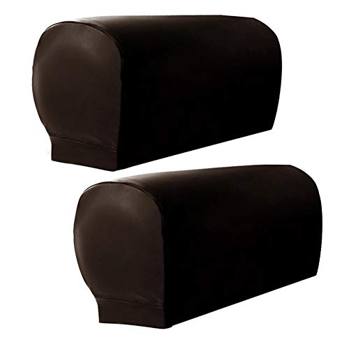 Sofa Armrest Covers, 2pcs Armchair Arm Covers Stretch Sofa Arm Caps Armrest Covers for Chairs Furniture Protector Set,Armrest Covers Spandex PU Leather Arm Caps for Arm Slipcovers (Coffee)