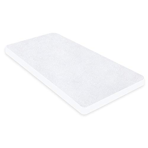 Waterproof Mattress Protector, Smooth Bamboo Bedside Crib Mattress Cover(86x52cm), Fits for Chicco Next to Me, White
