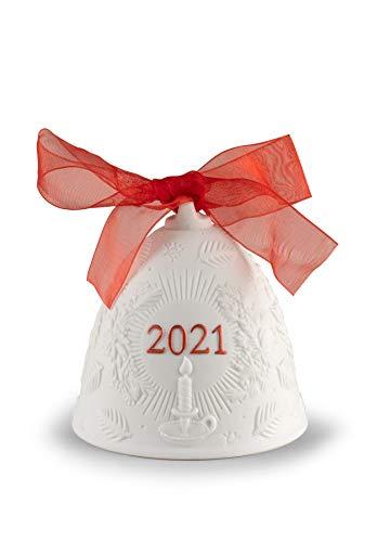LLADRÓ Campana Navidad 2021. Rojo. Campana De Navidad de Porcelana.