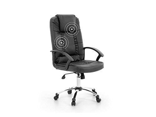 "Leder Chefsessel/Massagesessel/Bürostuhl/Drehstuhl\""Relax\"" mit Massage Farbe schwarz, Chrom Fußkreuz, günstig"