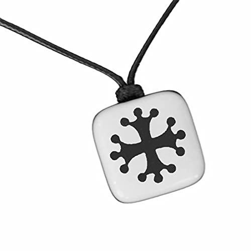 XanaLú Studio Colgante Cruz Occitana, Collar cruz cátara para hombre, mujer, Colgante artesanal con motivo histórico presentado para regalo (Cruz Cátara Blanco)