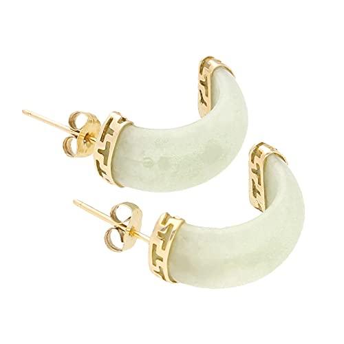 Pendientes de tuerca de jade de oro amarillo de 9 quilates para mujer (13 x 18 mm) | El regalo perfecto para una dama especial | Jollys Jewellers
