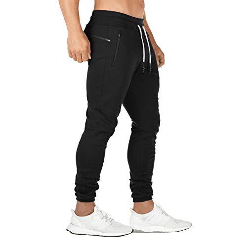 FEDTOSING - Pantalones de chándal para hombre con bolsillos de algodón Negro M