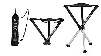 Walkstool - Modèle Comfort - Noir et Gris - Tabouret Pliant 3 Pieds en Aluminium - Hauteur 45 à 75 cm - Charge maximale 200 à 250 kg - Fabriqué en Suède