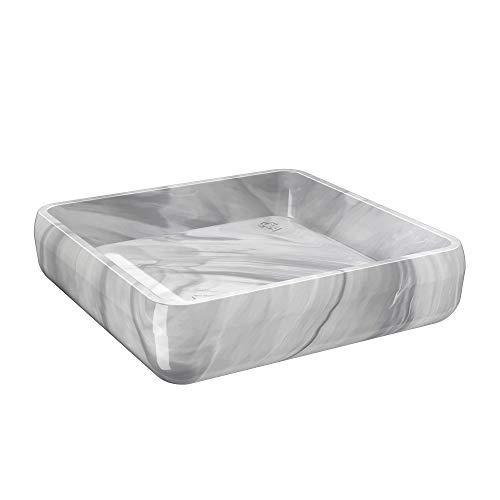 Porta Sabonete Cube, 10 x 10 x 2,5 cm, Mármore Branco, Coza