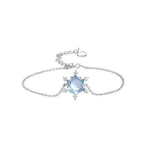 1 pulsera para mujer, diseño de copo de nieve, con topacio azul natural, ajustable
