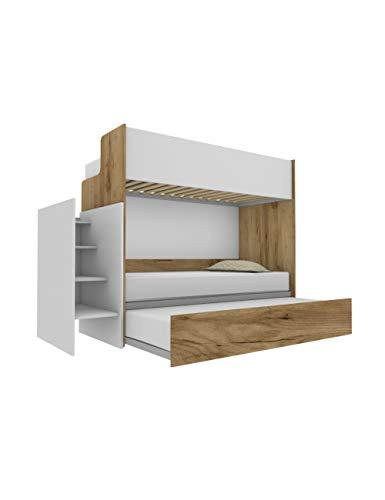 Woody - Litera funcional de diseño, con tercera cama extraíble y elevable, 80 x 190 cm, escalera de contención incluida, roble y blanco