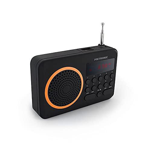 Oferta de Metronic 477204 Radio portátil FM compacto con puerto USB + lector tarjeta Micro SD, negro/naranja