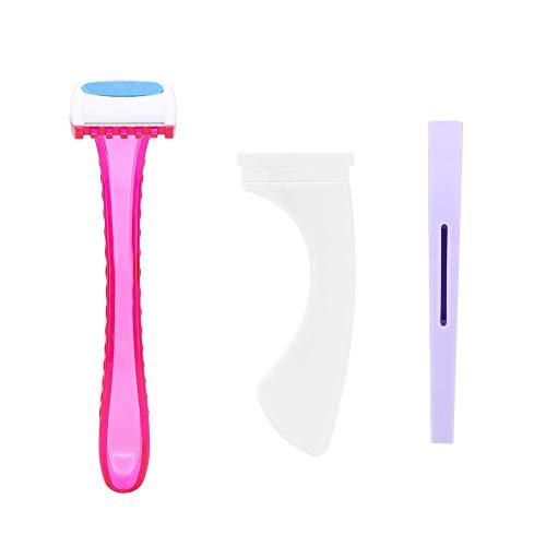 Bikini Rasierer für Frauen, Manueller Bikini Privates Haarentfernungsrasierer mit Rasierschablone, T-Rasierer für Kosmetisches Körperwerkzeug(Gerade Linie)