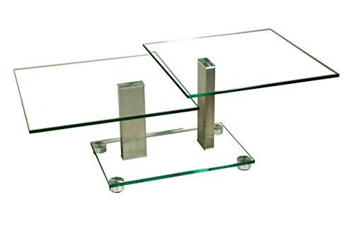 tischdesgin24 Twin9-A Couchtisch mit 2x12mm Klarglasplatte in 60x60cm. Bodenplatte in Klarglas mit Rollen. 100x40mm echt Edelstahlstollen gebürstet. Größe: 60 x 60 cm Quadratisch. Höhe: 45/52cm
