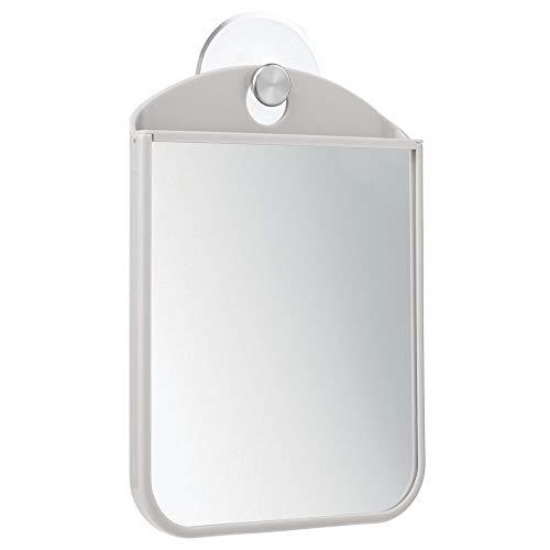 mDesign Espejo antivaho con Ventosa para Afeitado – También se Puede Usar como Espejo de Maquillaje – Espejo vanidad, Ideal para Utilizar en el Cuarto de baño – Gris Claro/Plateado Mate