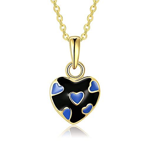 VAWAA Bonito Collar de Serie Estilo corazón para Mujer Chapado en Oro Collar Colgante de Amor de Chica Joven Negro y Rosa Elegir joyería