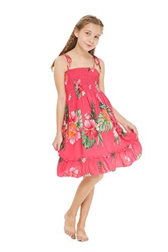 Girl Hawaiian Elastic Top Strap Dress in Pretty Tropical Hot Pink Size 6