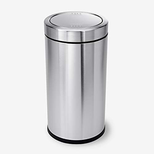 simplehuman 55 Liter / 14.5 Gallon Commercial Swing Top Trash Can, ADA-Compliant, Brushed Stainless Steel