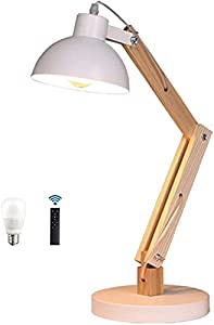 GDEVNSL High performance Vintage Wood Table Lamp Dimmable with Remote Control, 6W Swing Arm LED Desk Lamp Industrial Table Lamp E27 Retro Reading Lights