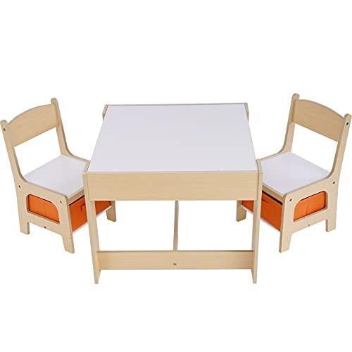 Set tavolo da attività per bambini 2-in-1, tavolo doppio e set di sedie, tavolo da studio per studenti, tavolo da costruzione per bambini con griglia