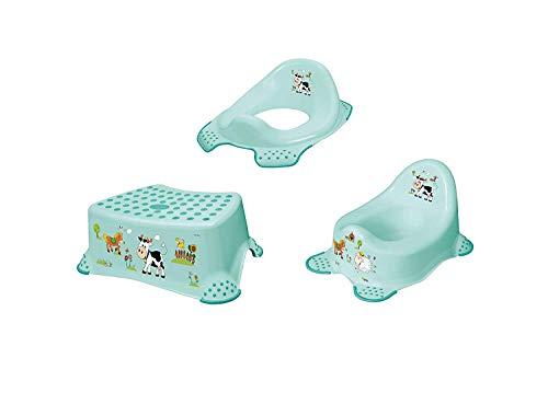 3er Lot : Funny Farm Aquamarine Siège de Toilettes pour Enfants + Escabeau + Pots Marchpied pour Toilette