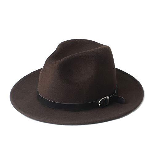 Fedorahut Mode Frauen Fedora Hut mit breiter Krempe Lederband Jazz Church Cap Panama (Farbe : 3, Size : 57-58cm)