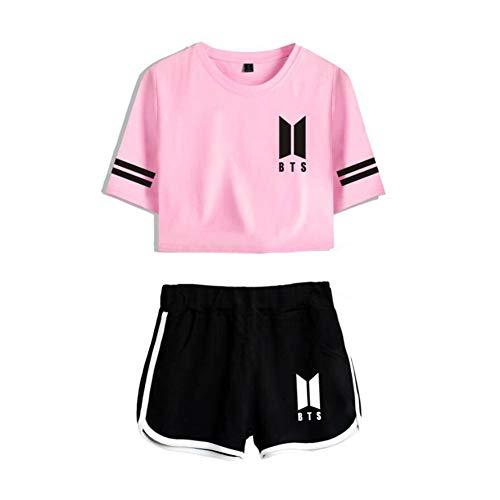 BTS Conjuntos Deportivos para Mujer Chándales Deportiva Camiseta Y Pantalones Cortos Cuello Redondo Crop Top Deportiva Corto T-Shirt Verano para Yoga Fitness,1,S