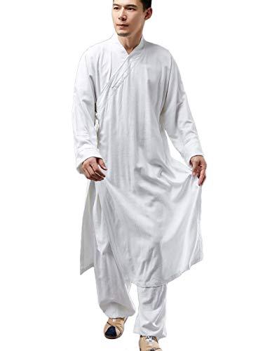 Shaolin Monk Kung Fu Robe Costume Abito Lungo Meditazione Vestito Cotone Lino Cappotto Casual Kaftano Arti Marziali Abbigliamento - bianco - L