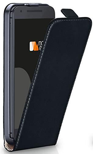 MoEx Funda abatible + Cierre magnético Compatible con LG Google Nexus 5X | Piel sintética, Noir