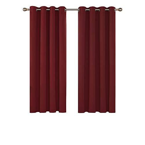 Deconovo Verdunkelungsgardinen mit Ösen Vorhang Schlafzimmer Verdunkelungsvorhang Blickdicht 138x132 cm Rot 2er Set