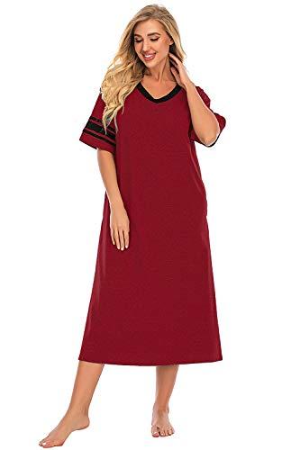 O.AMBW Camiseta clásica con Cuello en V con Bolsillos Laterales Pijamas Vestido Universitario Ropa de Dormir Ropa de Cama para niñas Ropa de Maternidad Mujeres Embarazadas Ocasión 4 Estaciones