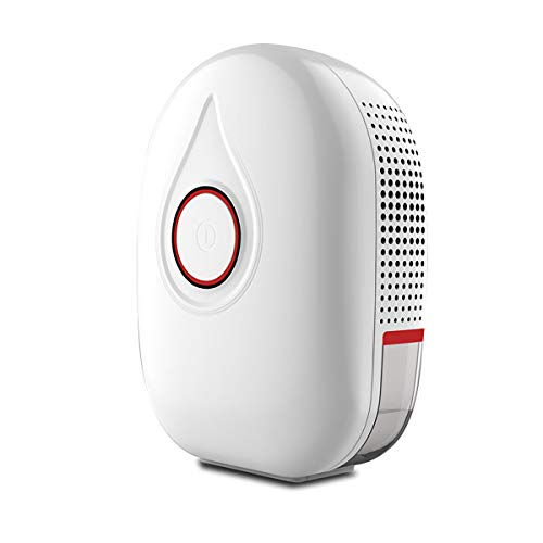 DOUIJSE Small household dehumidifier version ultra-quiet mini portable dehumidifier with automatic shut-off function with drain hose suitable for bedrooms, bathrooms, baby rooms, wardrobes, RVs and offices (Red)