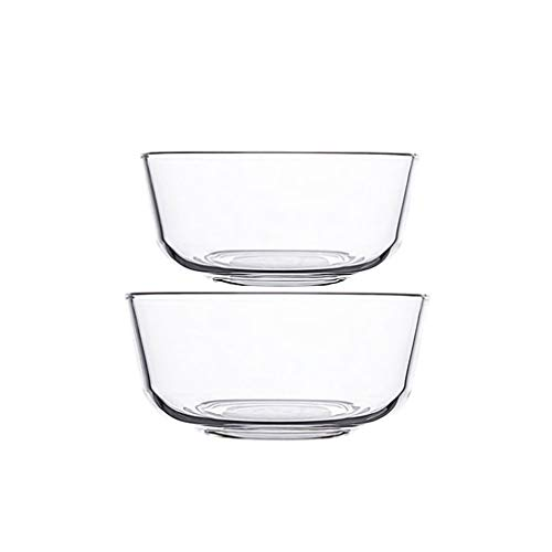 HAOXIANG Heat Resistant Glass Bowls, Home Microwave Oven Salad Mixing Bowl for Kitchen Preparation, Desserts, Dips and Candy Plates Or Nut Bowls, 2-Pieces,14.5+22.4cm