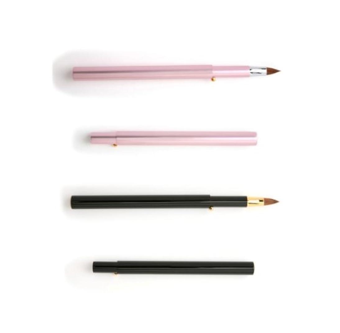 振る舞いあからさまアデレード【名入れ無料】北斗園化粧筆(メイクブラシ)スライド式リップブラシ 丸平型 紅筆  /HS-5  ピンク/熊野筆