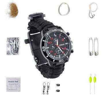 Kit de survie pour randonnée et escalade – Boussole de pêche, bracelet de survie avec cordon de parachute