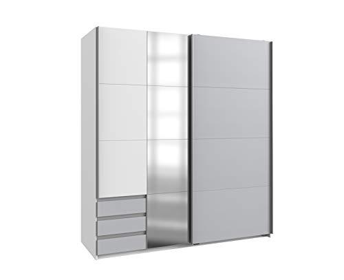lifestyle4living Schwebetürenschrank in grau und weiß, 180 cm   Hochwertiger Kleiderschrank mit 2 Schwebetüren, 3 Schubladen, 4 Einlegeböden & 1 Kleiderstange