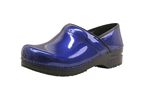 Sanita Zueco cerrado profesional de patente | Zueco de cuero flexible hecho a mano original para mujer, color Azul, talla 41 EU