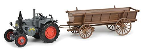 Schuco 450770200 m.Leiterwagen Lanz Bulldog mit Leiterwagen, Modellauto, 1:32, grau