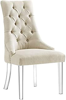 Posh Living Colton Cream Linen Dining Chair - Set of 2 - Armless - Acrylic Legs