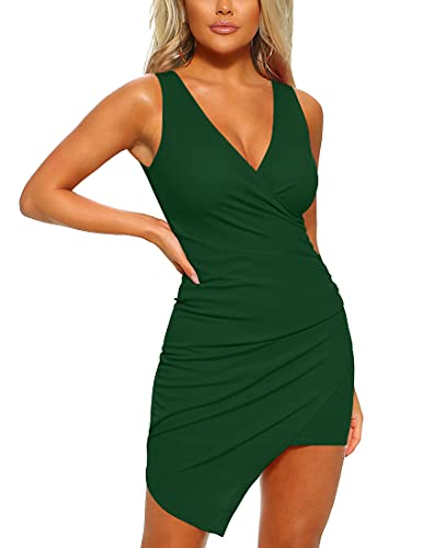 Mizoci Women's Casual Sleeveless Ruched Cocktail Party Dresses Bodycon Mini Sexy Club Dress,Large,Dark Green