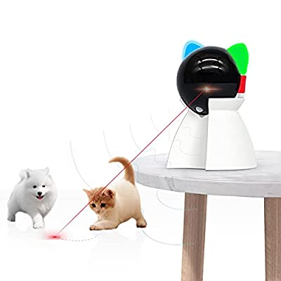 Rechargeable Motion Activated Cat Laser Toy Automatic,Interactive Cat Toys for Indoor Kitten/Dogs/Puppy,Three Installation Methods,Fast and Slow Mode by Valonii Store