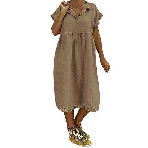 LOPILY Lose Tunika Blusenkleider Damen Sommer Lässige Spitzensaum V-Ausschnitt Kleider Strandkleid Einfarbig Einfach Bequem Freizeit Knielang Sommerkleider Übergröße(Khaki,DE-46/CN-3XL)
