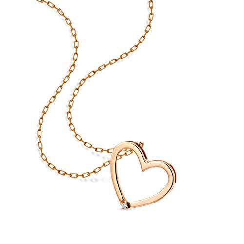 Orovi Damen Halskette mit Diamant herzkette RoseGold Kette 9 Karat (375)